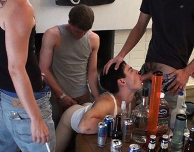frat bitch sucking many cocks
